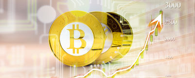 Bitcoin with chart Royalty Free Stock Images