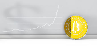 Bitcoin with chart Royalty Free Stock Photo