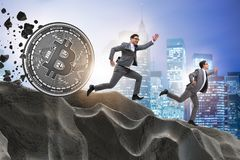 The bitcoin chasing businessman in cryptocurrency blockchain concept