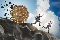 The bitcoin chasing businessman in cryptocurrency blockchain concept. Bitcoin chasing businessman in cryptocurrency blockchain concept royalty free stock photo