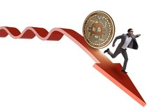 The bitcoin chasing businessman in cryptocurrency price crash. Bitcoin chasing businessman in cryptocurrency price crash stock image