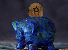 Bitcoin che entra nel porcellino salvadanaio Fotografia Stock