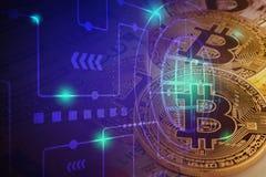 Bitcoin che mette sul fondo della banca del dollaro americano Fotografia Stock
