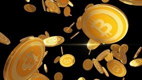 Bitcoin che si moltiplica, cryptocurrency dell'oro conia cadere sul fondo nero, 3D rende Immagini Stock