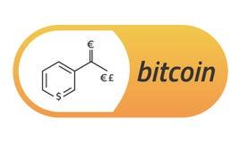 Bitcoin Chemical formula. Bitcoin like a capsule Vitamin PP. Eps10 Vector. White background Stock Photos