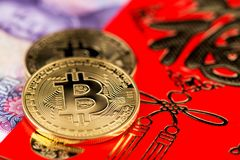 Bitcoin Chinese new year concept. Chinese New Year Cocept Red Envelope. Bitcoin Chinese new year concept year of pig Bitcoin RMB Renminbi Yuan Pig Chinese New royalty free stock photos