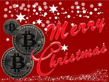 Bitcoin Christmas greeting card. On dark red background Stock Photos