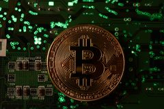 Bitcoin with Circuit Board Stock Image