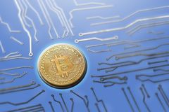 Bitcoin circuit board digital currency generation servers. royalty free stock photo