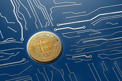 Bitcoin circuit board digital currency system for mining on mainframes royalty free stock image