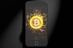 Bitcoin Cloner智能手机 免版税库存照片