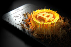 Bitcoin Cloner Smartphone Obrazy Royalty Free