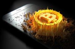 Bitcoin Cloner Smartphone Imagens de Stock Royalty Free