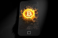 Bitcoin Cloner Smartphone Fotografie Stock