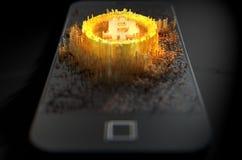 Bitcoin Cloner Smartphone Fotografía de archivo