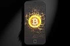 Bitcoin Cloner Smartphone Fotografia Stock Libera da Diritti