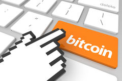 Bitcoin. Close up view on conceptual bitcoin computer key with hand cursor. 3D rendering Stock Images