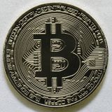 Bitcoin closeup  isolated on white background Royalty Free Stock Photos
