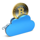 Bitcoin in the cloud. 3D concept with golden bitcoin in the zippered cloud Royalty Free Stock Image