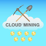 Bitcoin cloud mining with pickaxe and shovel on cloud logo. A bitcoin cloud mining with pickaxe and shovel on cloud logo Stock Images