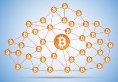 Bitcoin cloud net. Bitcoin money logo cloud net with shadow on light background Stock Photography