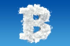 Bitcoin from clouds in the sky. 3D. Rendering Royalty Free Stock Image