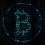Bitcoin codant le fond abstrait Matrice de Bitcoin avec c binaire image stock