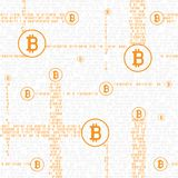 Bitcoin code seamless background. Bitcoin code internet money seamless backdrop texture. Financial crypto electronic currency background Royalty Free Stock Images
