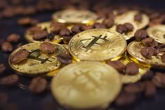 Bitcoin and coffee royalty free stock photo