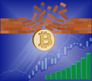Bitcoin coin breaks through the wall resistance. With growth chart on a blue background , the price of crypto currency is rising , vector image design concept Royalty Free Stock Images