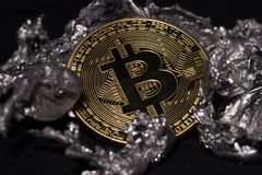 Bitcoin coin close-up royalty free stock images