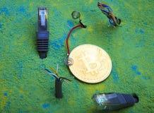 Bitcoin coin colour sand studio quality. Light stock image