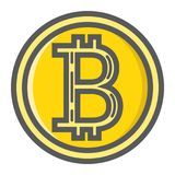 Bitcoin coin filled outline icon, business finance Royalty Free Stock Images