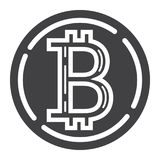 Bitcoin coin glyph icon, business and finance Royalty Free Stock Image