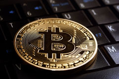 Bitcoin  coin l on laptop  keyboard Royalty Free Stock Photography