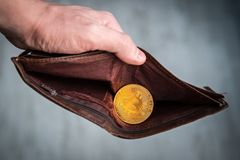 Bitcoin coin in the leather brown wallet. e-Commerce concept. Making money on mining. Male hands holding a purse. Male manners and. Bitcoin stock image