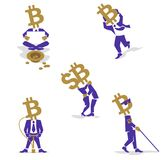 Bitcoin Coin-Man such businessman. Bitcoin sign, digital currency, cryptocurrency, electronic money such as passion Businessman Stock Photos