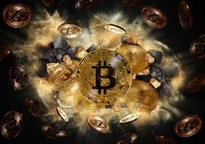 Bitcoin coin and mound of gold nuggets Stock Photo