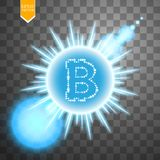 Bitcoin coin over blue explosion background with glitters stars and sparkles and neon glare on transparent background. Vector Royalty Free Stock Images