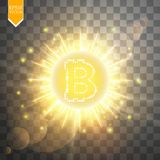 Bitcoin coin over golden explosion background with glitters stars and sparkles and neon glare on transparent background. Vector Royalty Free Stock Photo