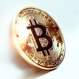 Bitcoin coin photo close-up. Crypto currency, blockchain technology Royalty Free Stock Images