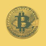 Bitcoin coin photo close-up. Crypto currency, blockchain technology Royalty Free Stock Photo