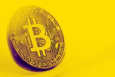 Bitcoin coin photo close-up. Crypto currency, blockchain technology Stock Photos