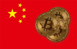 Bitcoin coins concept. Bitcoin coin on the red China flag background Stock Images