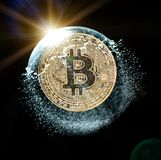 Bitcoin coin in a soap bubble. Concept of instability of the crypto currency. Bitcoin coin in a soap bubble. Concept of instability of the crypto currency over Stock Photography