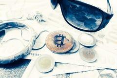 Bitcoin coin, turkish liras and sunglasses Royalty Free Stock Photo