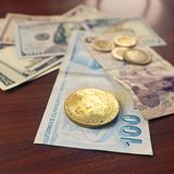 Bitcoin coin and turkish liras Royalty Free Stock Images