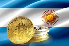 Bitcoin coins on Argentina flag, Cryptocurrency concept photo. For use vector illustration