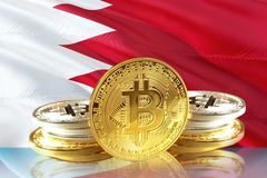 Bitcoin coins on Bahrain& x27;s Flag, Cryptocurrency concept royalty free illustration