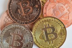 Bitcoin coins close-up royalty free stock photography
